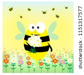 funny bee wuth bouquet on the... | Shutterstock .eps vector #1151317577