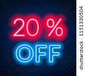 20 percent off neon lettering... | Shutterstock .eps vector #1151330504