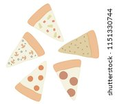 pizza slices vector art   set... | Shutterstock .eps vector #1151330744