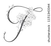 vector hand drawn flowered f... | Shutterstock .eps vector #1151343344