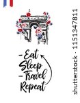 travel paris promo flyer.... | Shutterstock .eps vector #1151347811