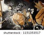 slices of bread on wooden... | Shutterstock . vector #1151353517