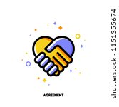 icon of handshake as agreement... | Shutterstock .eps vector #1151355674