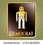 gold shiny emblem with robot... | Shutterstock .eps vector #1151362844