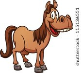 Cute Cartoon Horse. Clip Art...