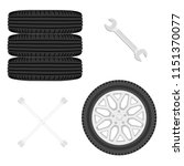 a stack of car tires. car... | Shutterstock .eps vector #1151370077