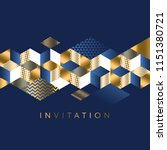Stock vector luxury marine geometric pattern for invitation geometry stock vector illustration gold and sea 1151380721