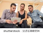 two man and one woman learning...   Shutterstock . vector #1151388554