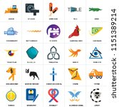 set of 25 icons such as lemur ...