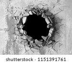 dark cracked broken hole in... | Shutterstock . vector #1151391761