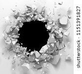 dark destruction cracked hole... | Shutterstock . vector #1151391827