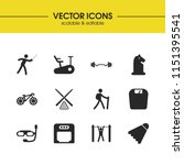 sports icons set with diving...