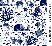 seamless pattern with sea... | Shutterstock .eps vector #1151399864