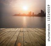 wooden platform before modern... | Shutterstock . vector #115140319