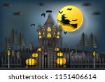witch riding broom flying over...   Shutterstock .eps vector #1151406614