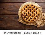 fruit pie. sweet pie  tart with ... | Shutterstock . vector #1151410154
