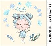 hand drawn beautiful cute girl...   Shutterstock .eps vector #1151412461