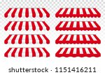 awning tent with red and white... | Shutterstock .eps vector #1151416211