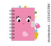 Cute Cartoon Diary In A Pink...
