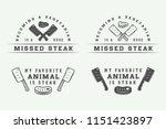 set of vintage butchery meat ... | Shutterstock .eps vector #1151423897