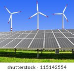 solar energy panels and wind... | Shutterstock . vector #115142554
