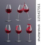 wine splash glass realistic... | Shutterstock .eps vector #1151427311