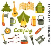camping equipment gear gadgets... | Shutterstock .eps vector #1151427761