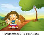 illustration of kids and a car...   Shutterstock .eps vector #115143559