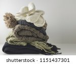 warm woolen knitted winter and... | Shutterstock . vector #1151437301