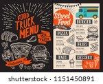 food truck menu for street fest.... | Shutterstock .eps vector #1151450891