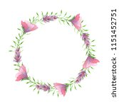 watercolor floral wreath with... | Shutterstock . vector #1151452751