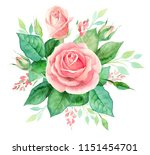 watercolor bouquet of flowers.... | Shutterstock . vector #1151454701