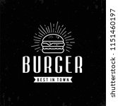 retro outline burger... | Shutterstock .eps vector #1151460197