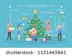 people decorating big christmas ... | Shutterstock .eps vector #1151465861