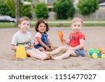 portrait of three cute... | Shutterstock . vector #1151477027