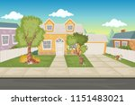 colorful cartoon houses. suburb ... | Shutterstock .eps vector #1151483021