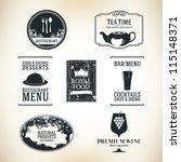 label set for restaurant and... | Shutterstock .eps vector #115148371