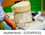 pieces of cheese with blue mold ... | Shutterstock . vector #1151493131