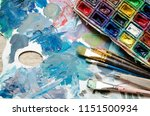 artist paint brushes and... | Shutterstock . vector #1151500934