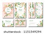 wedding card templates set with ... | Shutterstock .eps vector #1151549294