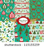 christmas pattern set. vector... | Shutterstock .eps vector #115155259