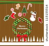 merry christmas card design.... | Shutterstock .eps vector #115155514