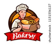 bakery  bakeshop logo or label. ... | Shutterstock .eps vector #1151556137