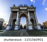 porta sempione of milan during... | Shutterstock . vector #1151560901