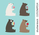 vector set of bear icons of... | Shutterstock .eps vector #1151569514