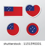 set of samoa flag vector | Shutterstock .eps vector #1151590331