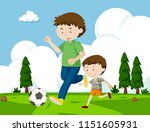 a father and son playing...   Shutterstock .eps vector #1151605931
