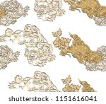 chinese lion pattern vector...   Shutterstock .eps vector #1151616041