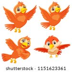set of cute orange birds... | Shutterstock .eps vector #1151623361
