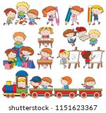 set of children playing and... | Shutterstock .eps vector #1151623367